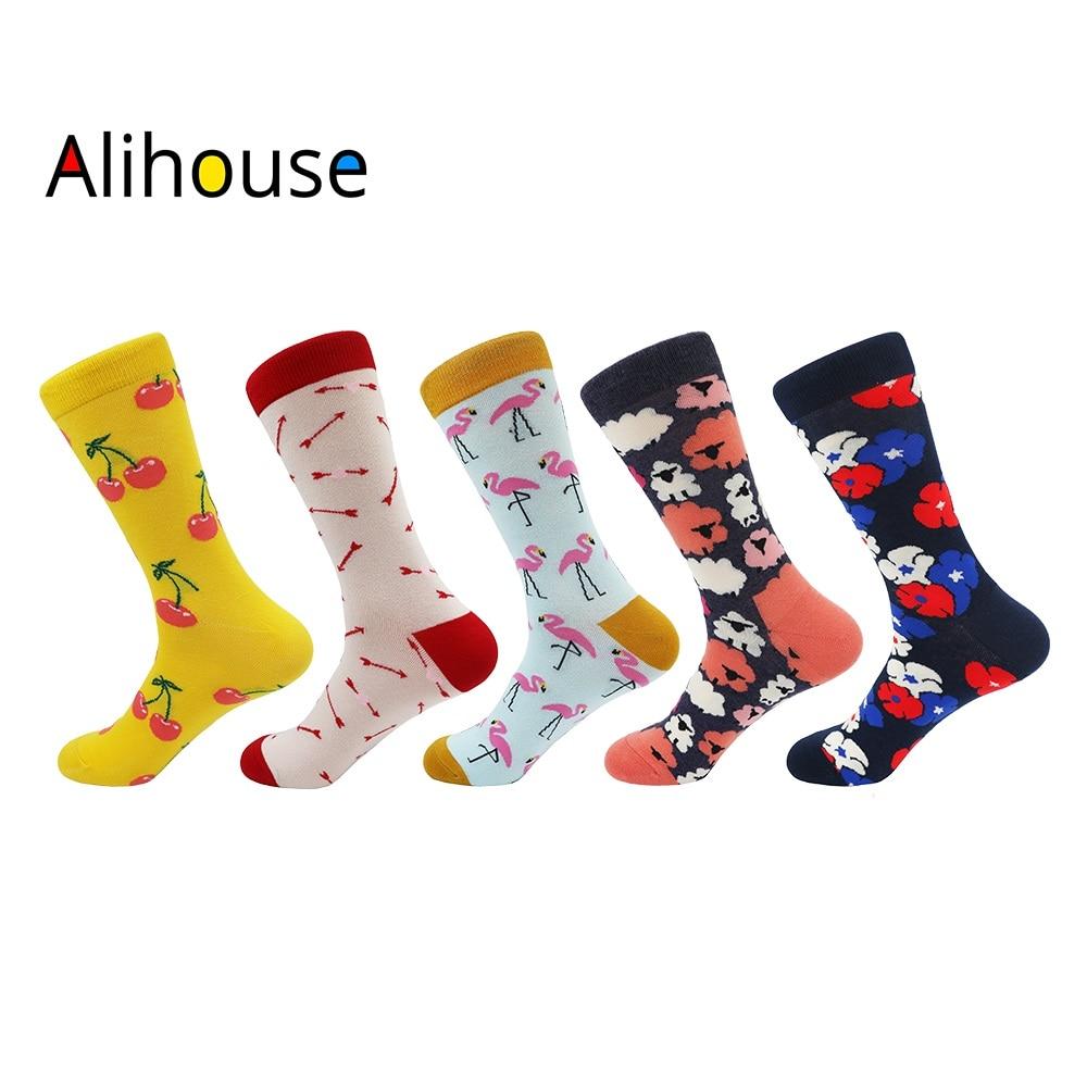 Alihouse Men Socks Happy Socks 5 Pairs/lot Colorful Combed Cotton Skateboard Sock Causal Dress Wedding Crew Socks Men Harajuku