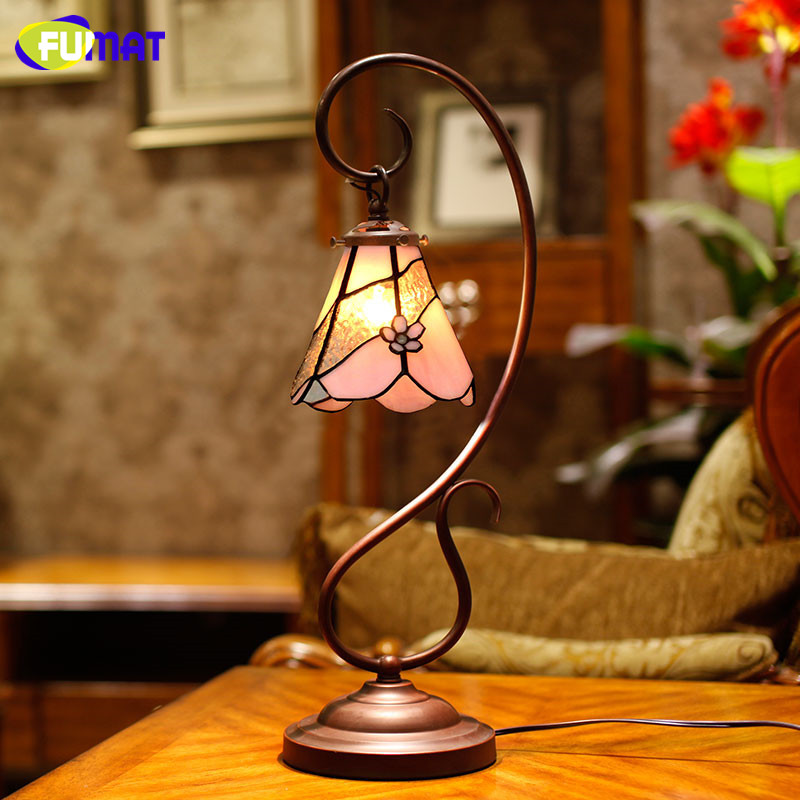 FUMAT Stained Glass Table Lamp European Style Sakura Glass Lightings Shade Study Room Bedside Living Room Decor LED Table Lights fumat classic table lamp european baroque stained glass lights for living room bedside table light creative art led table lamps