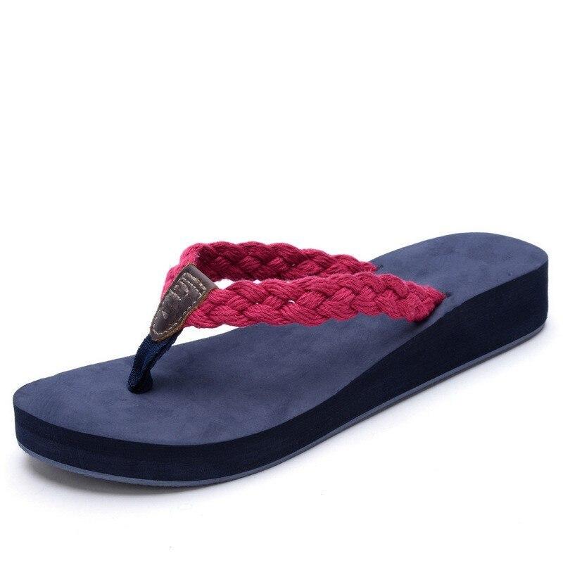 2016 brand Summer woman Handmade cotton woven belt sandals women bling flip flops slides beach slippers 4cm High heels in Flip Flops from Shoes