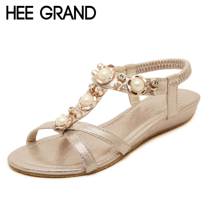 HEE GRAND Women's Sandals For 2017 New Crystal Summer Shoes Woman Platform Wedges Med Heels Silver Gold Slip On Sandal XWZ3699 hee grand casual wedges sandals 2017 summer beach women shoes platform buckle comfort creepers fashion shoes woman xwz3812