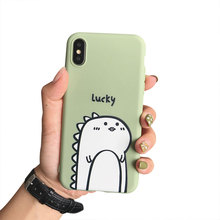 Phone Case For iphone 7 X XR Xs Max  Cute Soft TPU Cover 6S 8 Plus Little Dinosaur Pattern