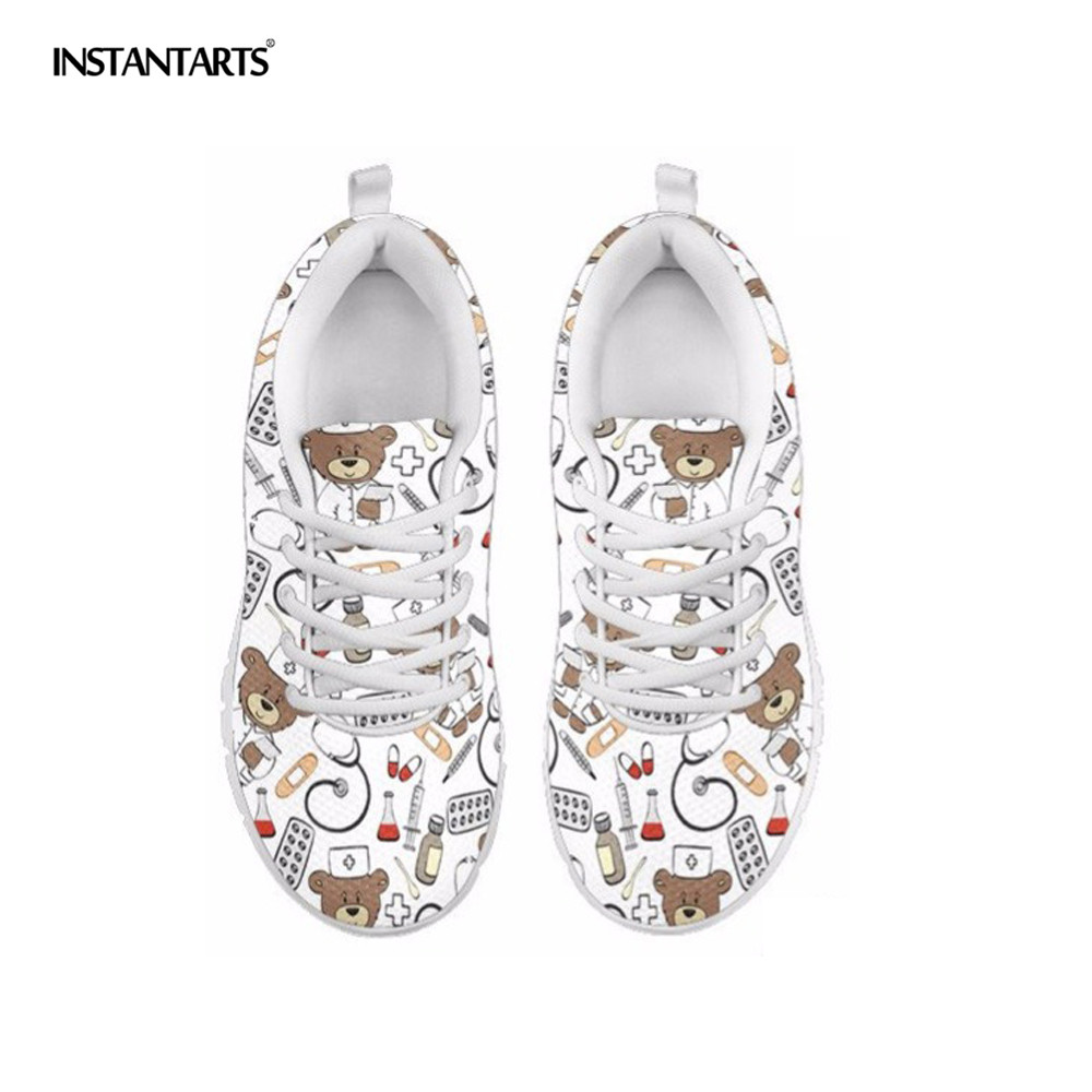 INSTANTARTS Bear Nurse Sneakers White Casual Flat Shoes Women Cute Flats Air Mesh Breathable Comfort Walking Tenis Sport Shoes instantarts pink sneakers women casual flats cute cartoon pediatrics bear doctor nurse pattern lady air mesh laces up flat shoes