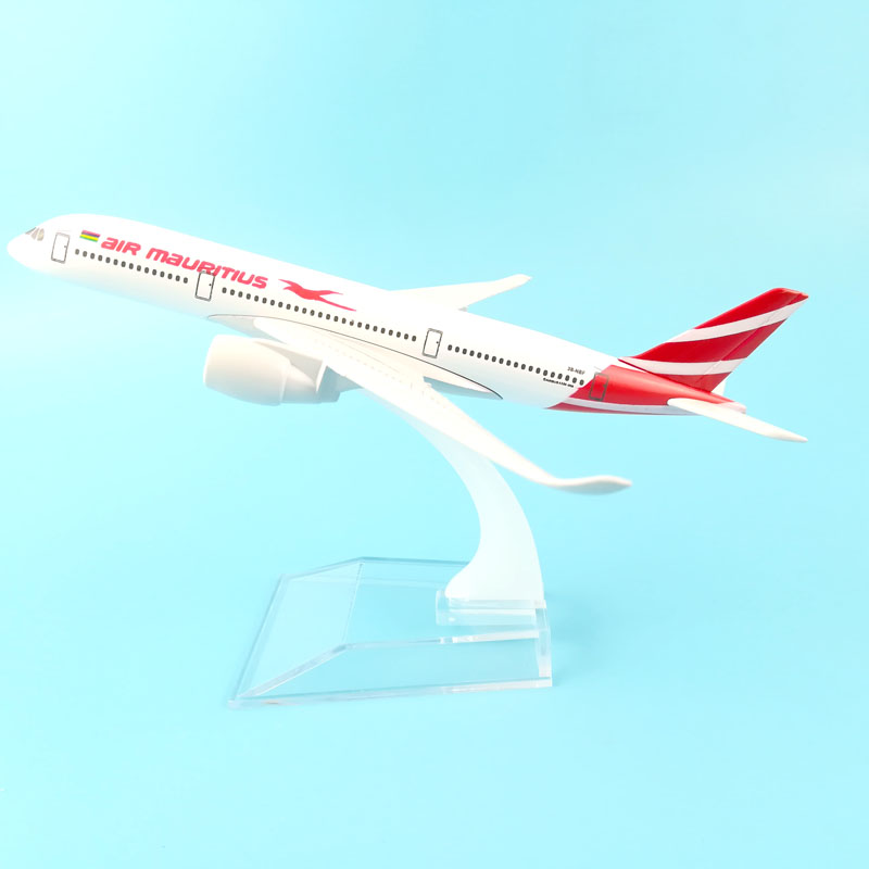 AIRLINES 16CM A350-900 AIR MAURITIUS METAL ALLOY MODEL PLANE AIRCRAFT MODEL TOY AIRPLANE BIRTHDAY GIFT free shipping 16cm 757 dhl metal alloy model plane aircraft model toy airplane birthday gift