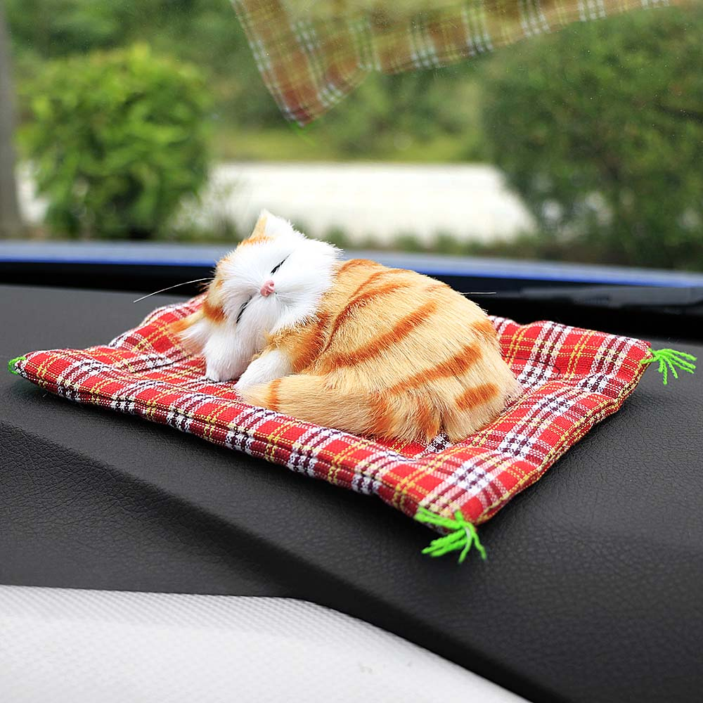 Car Ornaments Cute Simulation Sleeping Cats Electric Mew Sound Lovely Real Life Plush Kittens Doll Toy Decoration Gifts