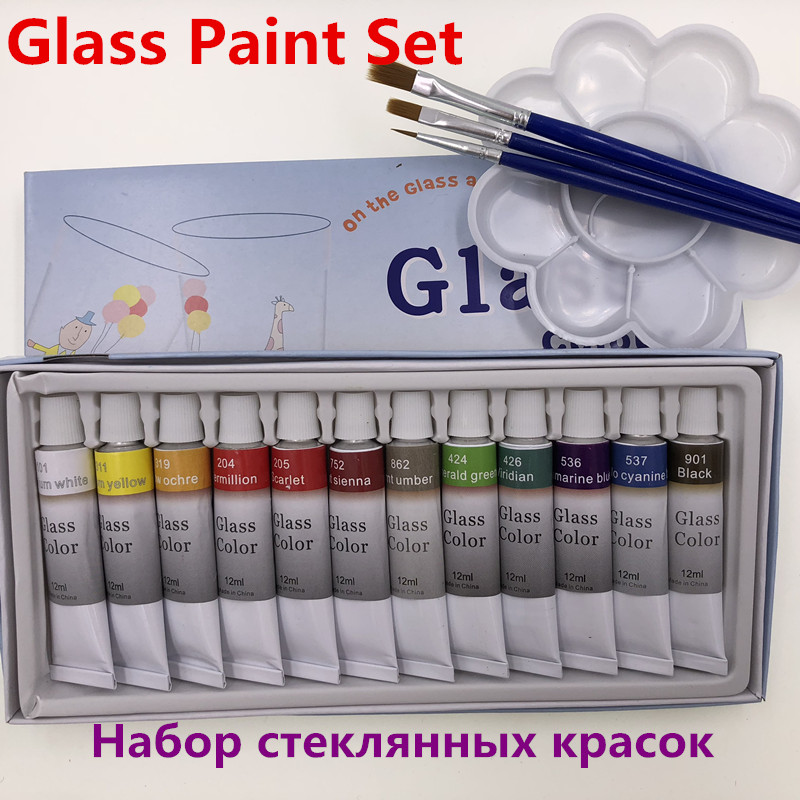 12 Colors 12ML Color Glass Paint Set Acrylic Paint Hand Painted Pigments Glass Paint Color Free For Brush And Paint Tray цена