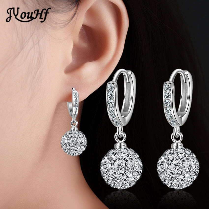 JYouHF Fashion Luxury Rhinestone Earrings for Women 10mm Ball Crystal Long Earrings Silver Plated Party Jewelry Bijoux Femme