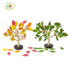 Free shipping Install leaves Tree Wisdom Tree Building blocks Wood children's educational toys Kids wooden Assembly leaf tree
