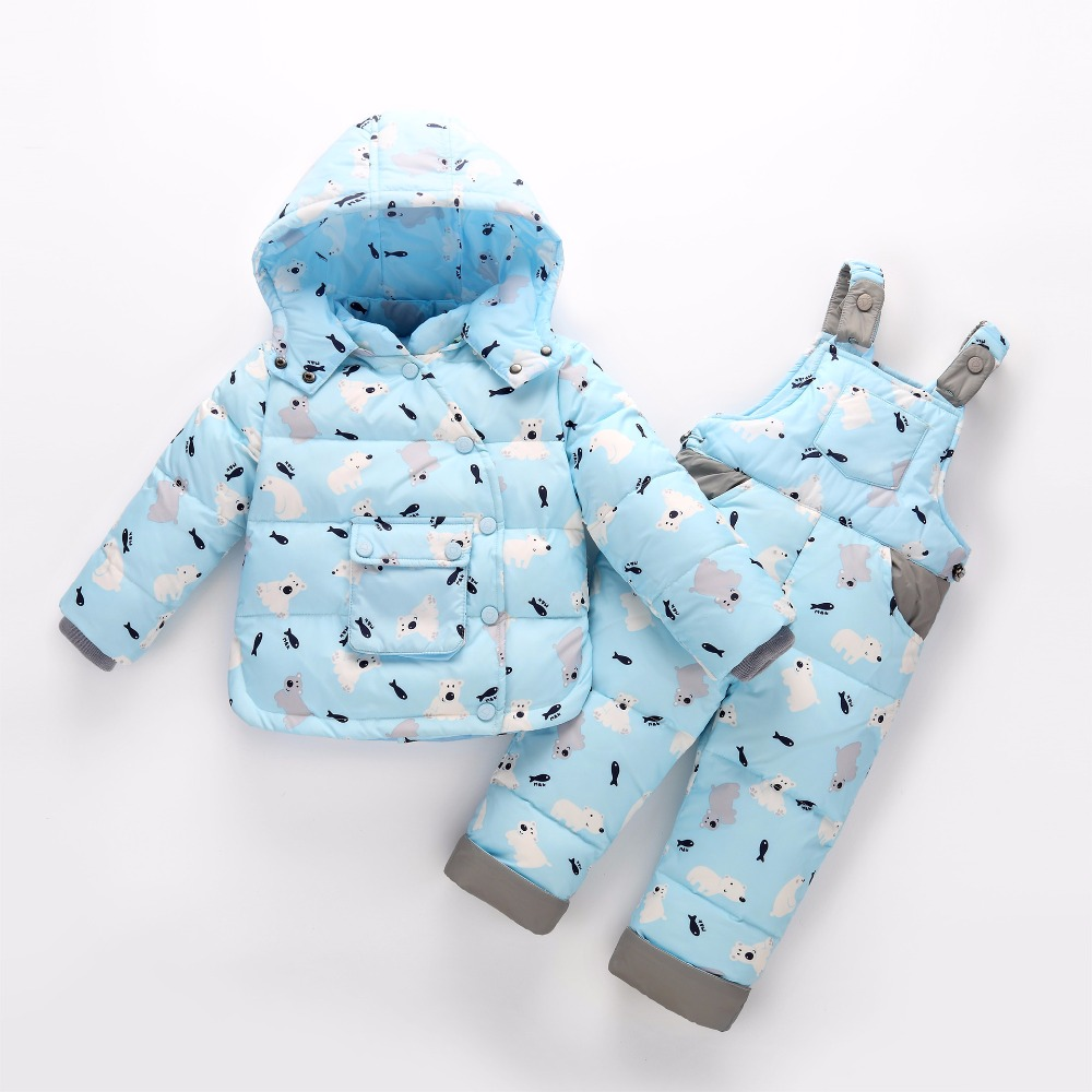 2018 Children's clothing children down jacket pants new baby hooded down jackets+pants suit cartoon boys girls thicke 2 pcs sets 2018 new cartoon boys clothing sets 2pcs denim jacket