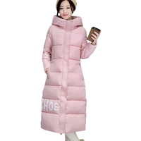 2017 New Women Winter Long Quilted Jacket Coat Fashion Letters Print Female Hooded Warm Thickening Cotton Parkas Plus Size XH401