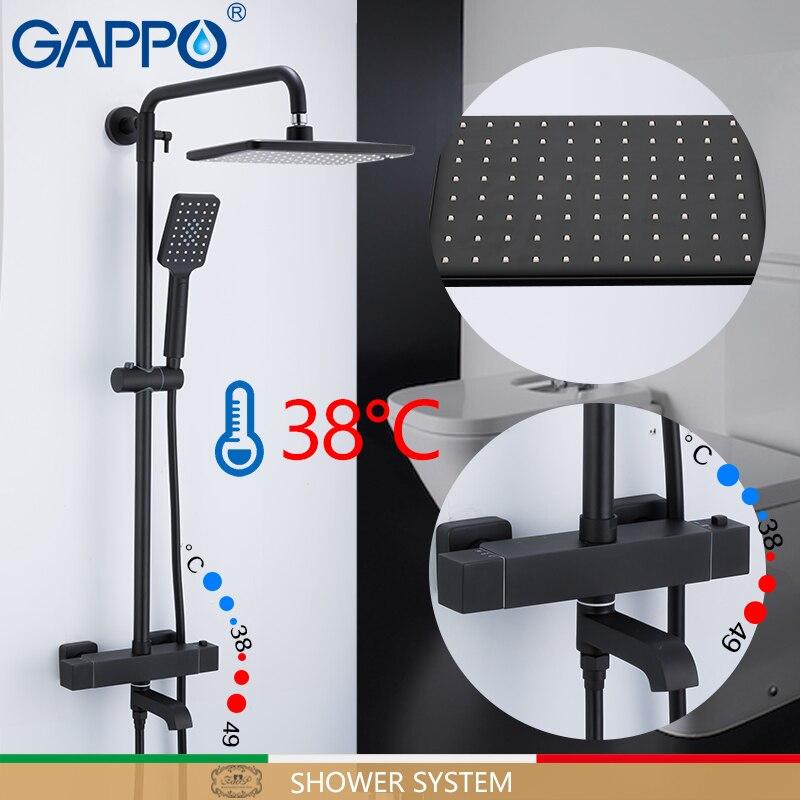 Gappo sistema de chuveiro do banheiro preto conjunto banho misturadores cachoeira termostática torneira misturadora chuveiro fixado na parede da banheira