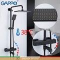 GAPPO dusche system Schwarz Bad dusche set bad Mischer Wasserfall thermostat dusche mischbatterie wand montiert Badewanne Wasserhahn