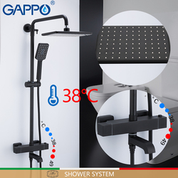 GAPPO sistema doccia Nero Bagno doccia set da bagno Miscelatori Cascata miscelatore termostatico doccia Rubinetto fissato al muro Vasca Da Bagno Rubinetto
