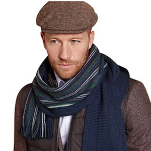 VANCOL Men Blue Striped Long Knitting Scarf Warm Neck