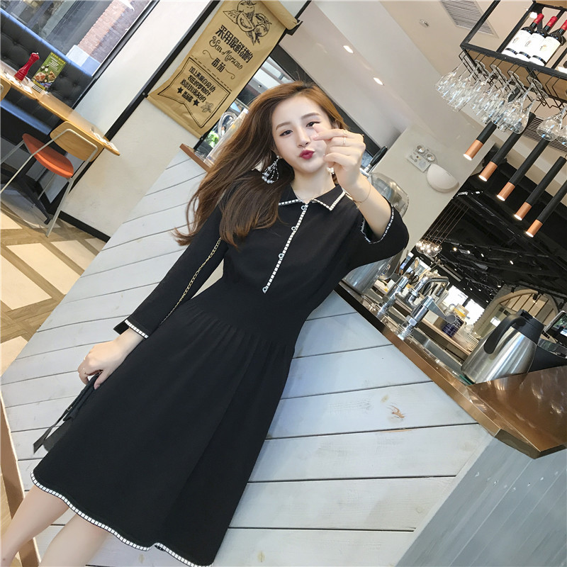 Afei Tony Hot Sale Pregnant Women Dress Breastfeeding Knitted Dress Maternity Turn-down Collar Dress One Size nursing dress