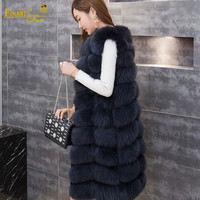 Long Winter Real Fox Fur Vest Coat 90cm Women Light Blue Fox Genuine Fur Vest Warm Feminino Outerwear Natural New Waistcoats