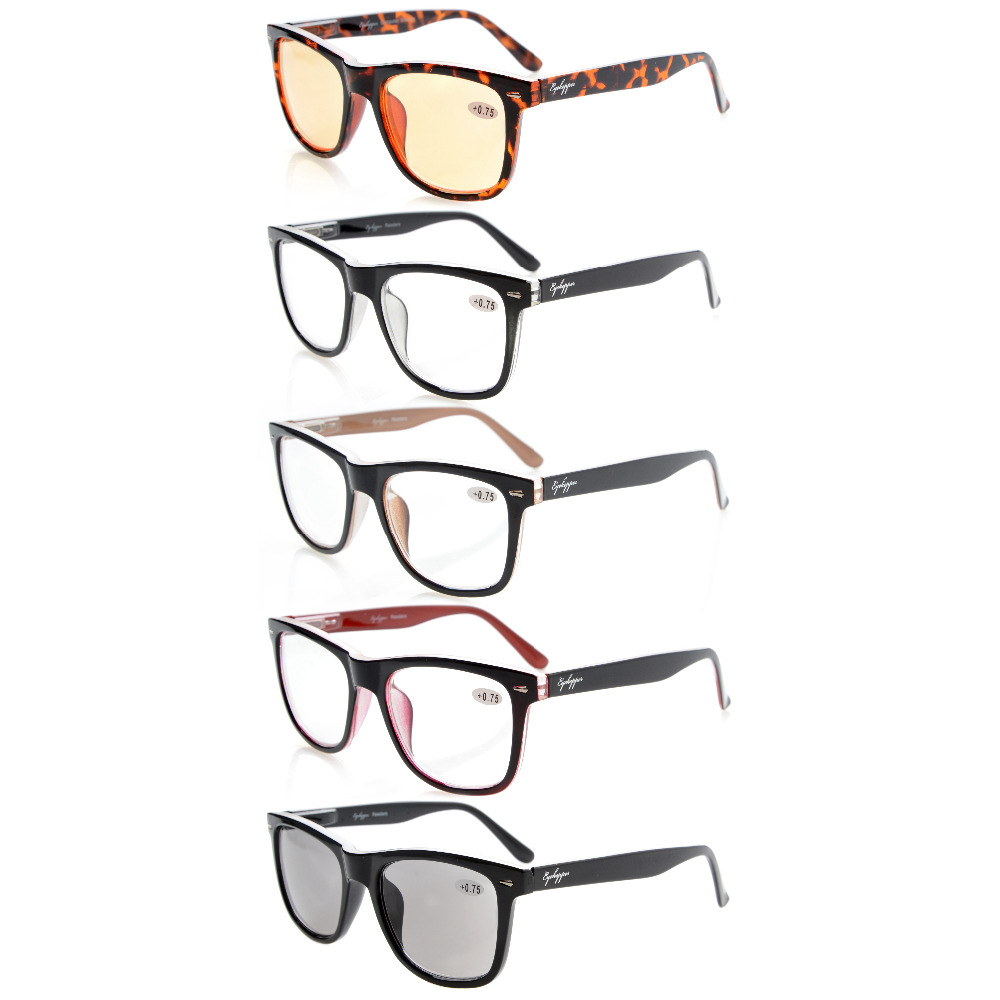50d7adc374f R080 Mix Eyekepper 5-pack Readers Square Large Lenses Spring-Hinges Reading  Glasses Include