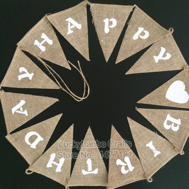 1 Set Rustic Vintage HAPPY BIRTHDAY Jute Hessian Burlap Bunting Flags Shabby Chic Banner Birthday