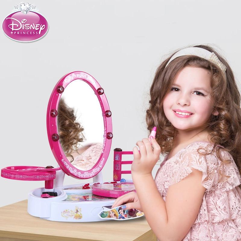 Pretend Play Disney Children Beauty Fashion Pretend Play Toys Princess Series Children Makeup Box Girls Pretend Play Kids Cosmetics Kit