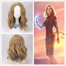 Women Movie Captain Marvel Coplay wig Women Carol Danvers Blonde Wavy Hair Gold Synthetic Wig Halloween Wig+Wig Cap