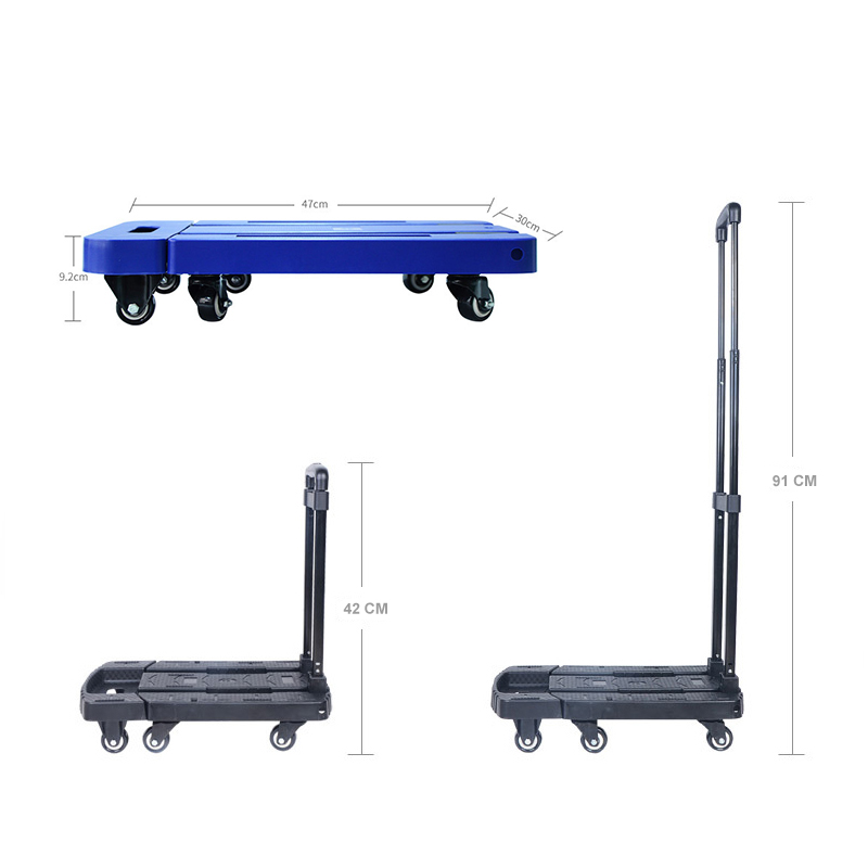 Portable Metal PP Folding Luggage Trolley Cart for Car Travel Accessory Luggage Shipping Trailer Adjustable Handle Chassis Multan