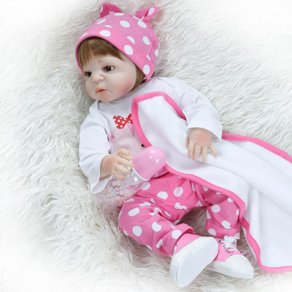 NPK Realistic 57cm Full Silicone Baby Reborn Doll Girl Vinyl Look Real Fake Baby Doll Toy For Kid Playmate Gift Xmas Present NPK Realistic 57cm Full Silicone Baby Reborn Doll Girl Vinyl Look Real Fake Baby Doll Toy For Kid Playmate Gift Xmas Present