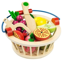 ChildrenS Wooden Magnetic Cut Fruit And Vegetables Baby Home Kitchen Toys