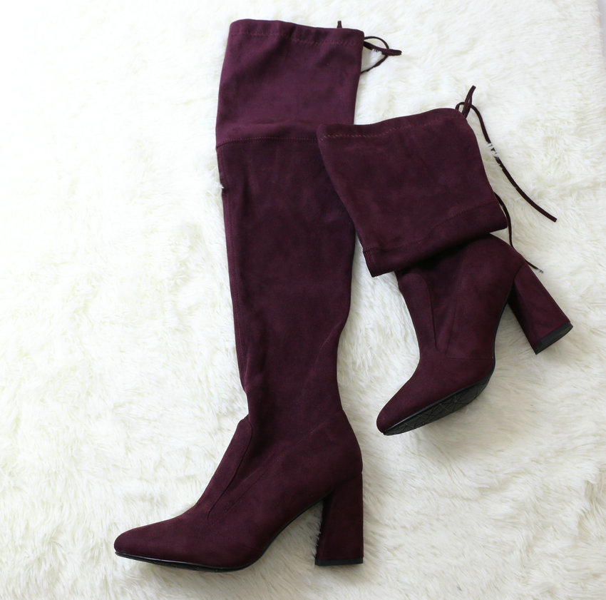 Flock Leather Over The Knee Boots Lace Up Sexy High Heels Autumn Winter Women Shoes 69