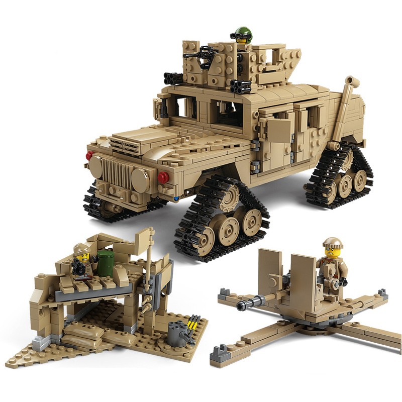 Compatible avec legoings Kazi Militaire M1A2 Réservoir Collection Série Trans Jouets 1:28 ABRAMS MBT HUMMER Modèle kits de Construction Blocs