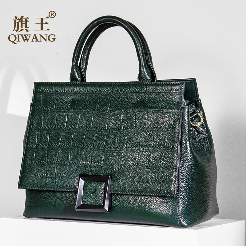 Qiwang Real Leather Bag Branded Leather Bag Crocodile Leather Handbag Fashion Women Luxury Green Tote Bag for Women high quality