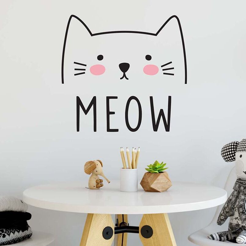 Us 7 42 25 Off Cute Cat Decal Wall Sticker Animal Wall Decor Removable Vinyl Sticker Cat Wall Mural Sticker Bedroom Kids Bedroom Decor Ay0139 In