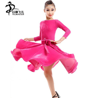 2015 New Hotsale Pink Stage Latin And Ballet Costumes Girls Girl Dance Dress Costumes Practice Skirt
