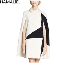 HAMALIEL New Fashion 2017 Autumn Winter Women Woolen Warm Coat Runway Star Patchwork Cloak Sleeve Lapel Collar Cape Outerwear(China)