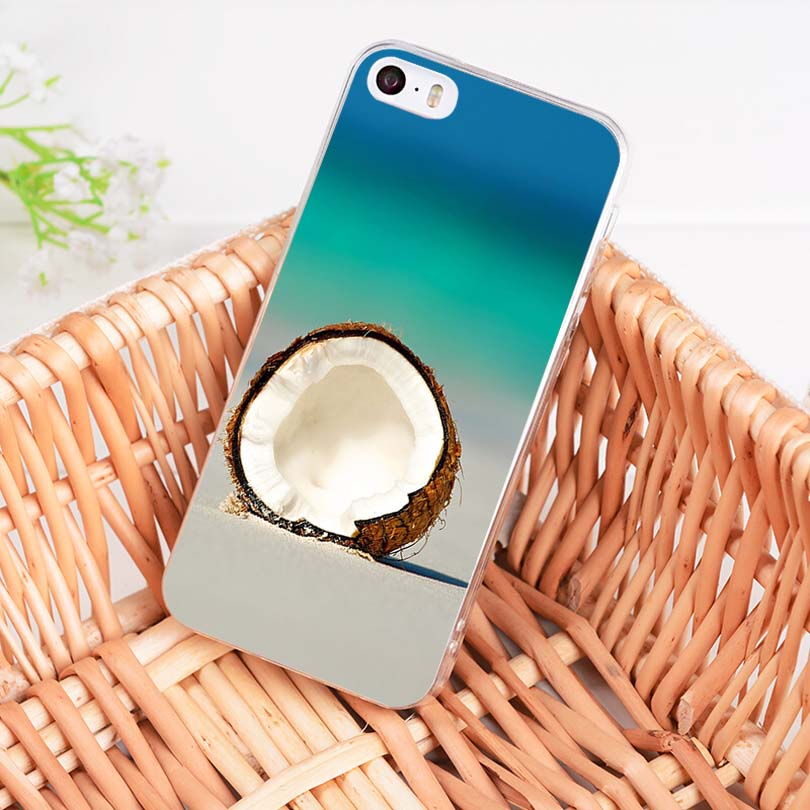 MaiYaCa Fruit Coconut on the beach Printing Drawing TPU phone case for iPhone 8 7 6 6S Plus X 10 5 5S SE 5C 4 4S Coque Shell in Half wrapped Cases from Cellphones Telecommunications