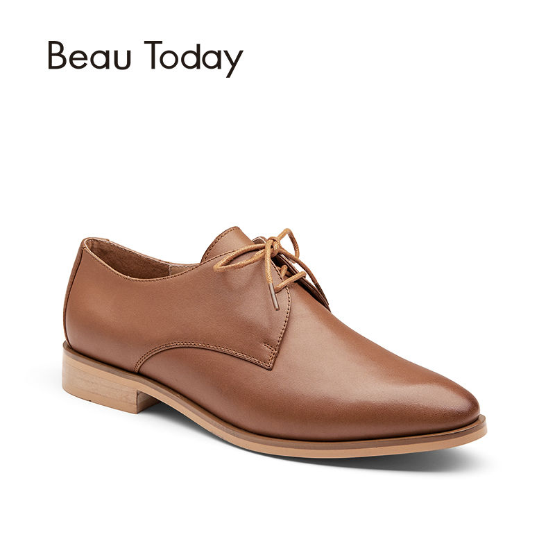 BeauToday Genuine Leather Derby Shoes Women Fashion Spring Autumn Lace-Up Round Toe Cow Leather Office Ladies Flats 21073 women shoes spring autumn genuine leather flat shoes round toe lace up flats ladies moccasins