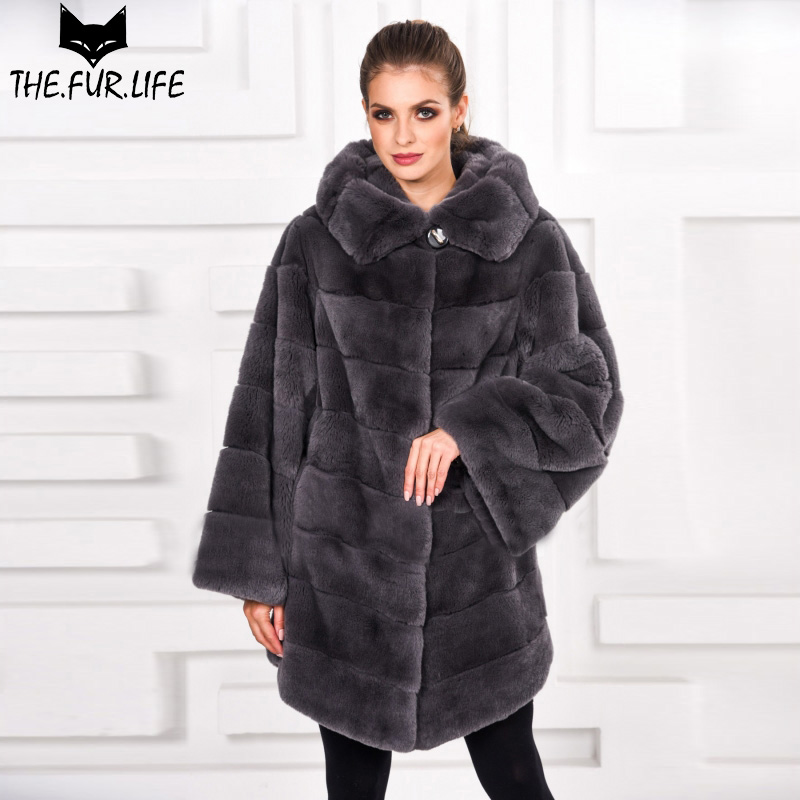 2018 Fashion Hot Sell Real Fur Coats For Women Warm Soft Nature Rex Rabbit Fur Coat With Furry Hoods Capped Winter Tops 2018