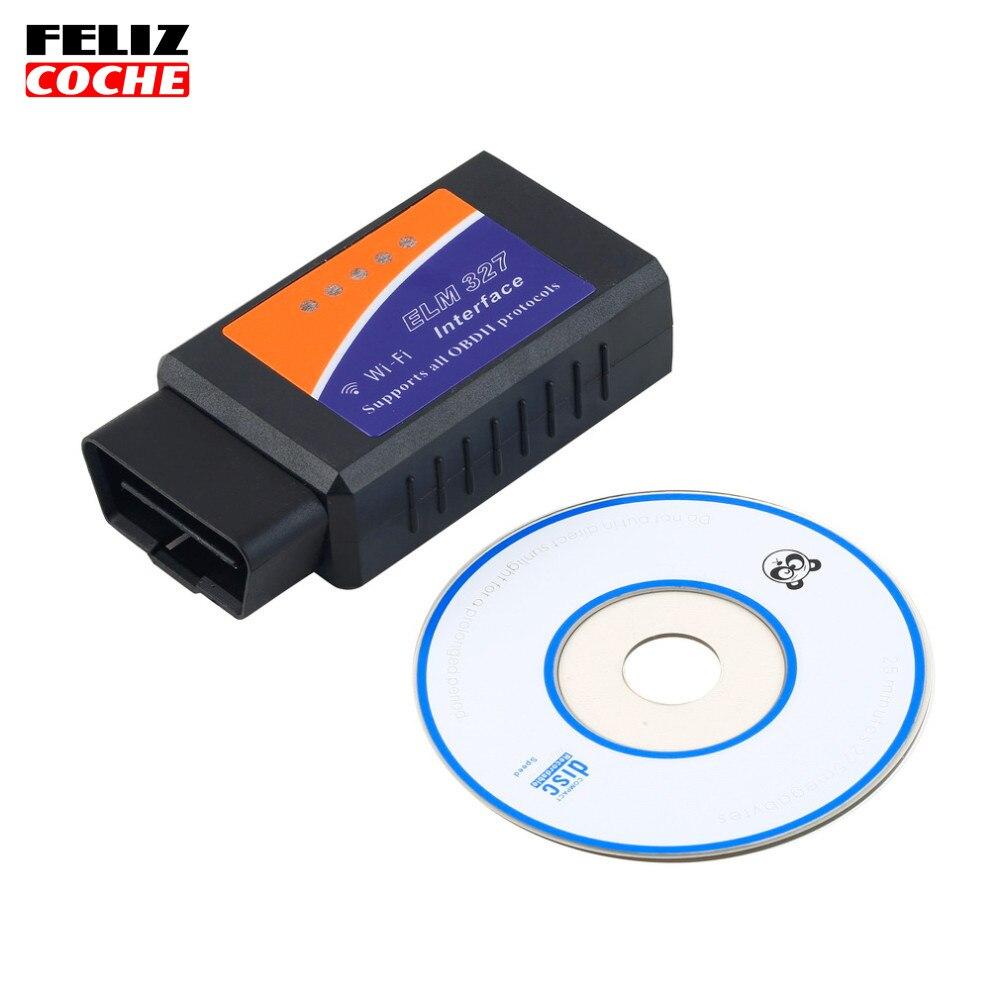 Prix pour ELM327 WIFI OBD2/OBDII Auto Scanner Outil De Diagnostic Interface Outil D'analyse Pour Téléphone Intelligent PC Vente Chaude A2206