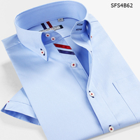 2014 Summer Male Short Sleeve Casual Dress Shirt 100 Cotton Slim Fit Shirts White Men S