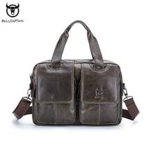 BULLCAPTAIN Brand Genuine Leather Men Briefcase Business Men Laptop Tote Bag Retro Leisure Men's Travel Shoulder Bags Handbag