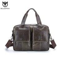 BULLCAPTAIN Brand Genuine Leather Men Briefcase Business Men Laptop Tote Bag Retro Leisure Men S