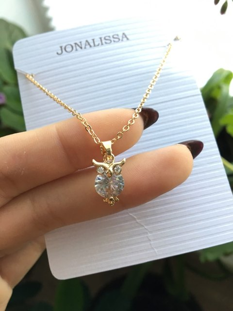 2019 New Zircon Pendants Owl Necklace For Women Crystal Heart Gold Sliver Color Long Necklaces Fashion Jewelry Christmas Gift 4