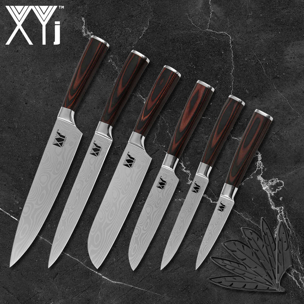 XYj Household Kitchen Knife Set 6pc Japan 7Cr17mov Steel Cooking Knives Chicken Fish Vegetable Cutter Fit Magnetic Knife Holder