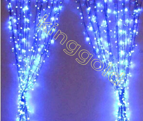 Blue led 6m 3m curtain net light 220v waterproof for for 160 net christmas decoration lights clear