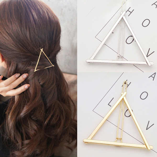 Woman Hair Accessories Triangle Star Hair Clip Pin Metal Geometric Alloy Hairband Moon Circle Hairgrip Barrette Girls Holder