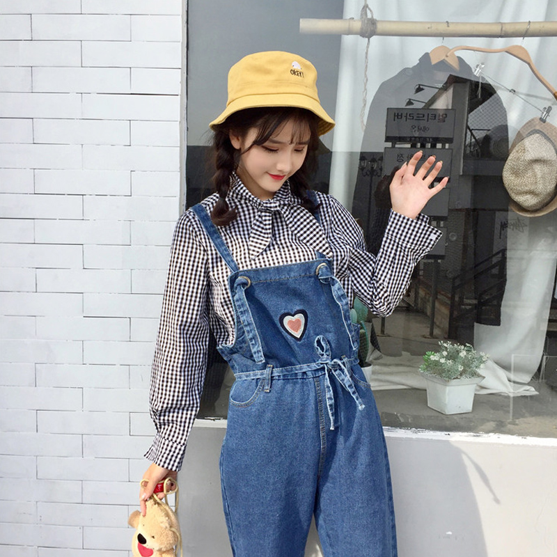 Jeans Bottoms Cheap Price Plus Size Denim Kawaii Cat Embraoidery Pocket Loose Straight Wide Leg Suspender Jumpsuit Romper Jean Overalls Korean Women Pant
