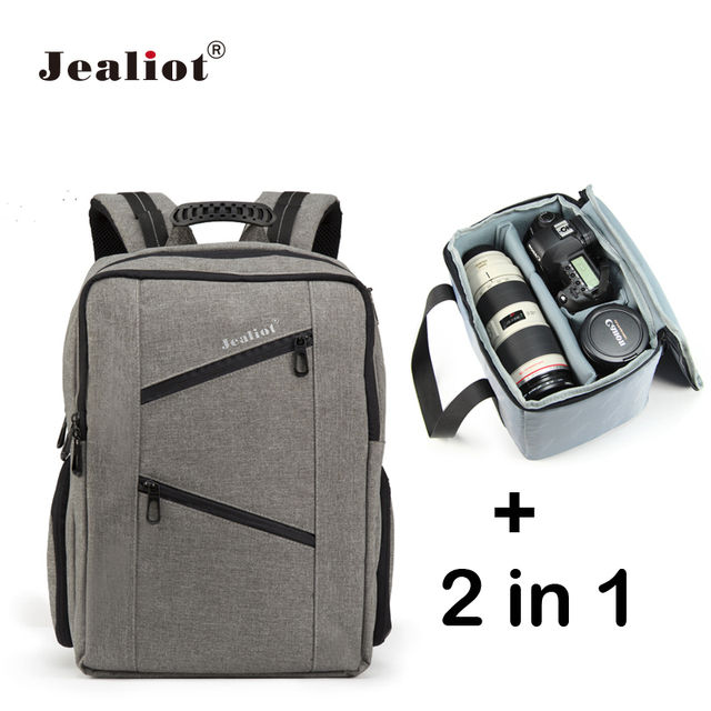 Jealiot 2 In 1 Multifunctional Slr Camera Bag Photo Bags Laptop Backpack Waterproof Shockproof Digital