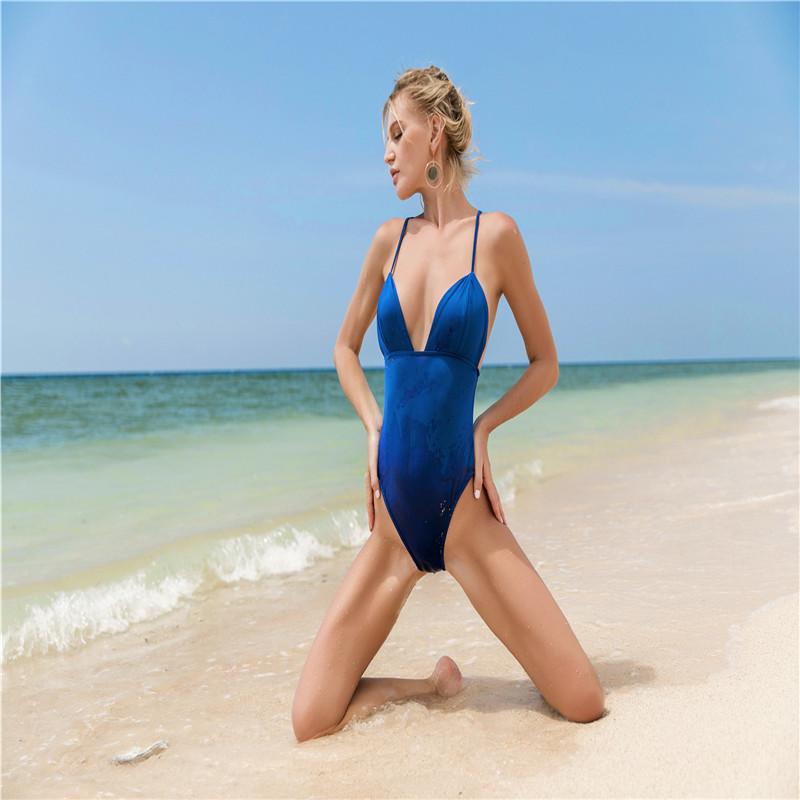 Summer Europe New Hot High Waist Hanging Neck Holiday Beach Large Size Solid Color Large Size Sexy Female Triangle   Jumpsuit