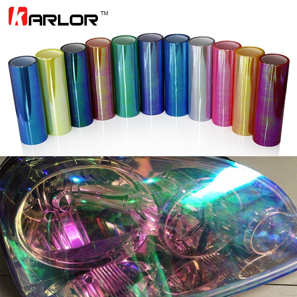 0.3m*10m Chameleon Auto Car Light Headlight Taillight Tint Vinyl Film Stickers Decals Sheet Car Styling Automobiles Accessories стоимость