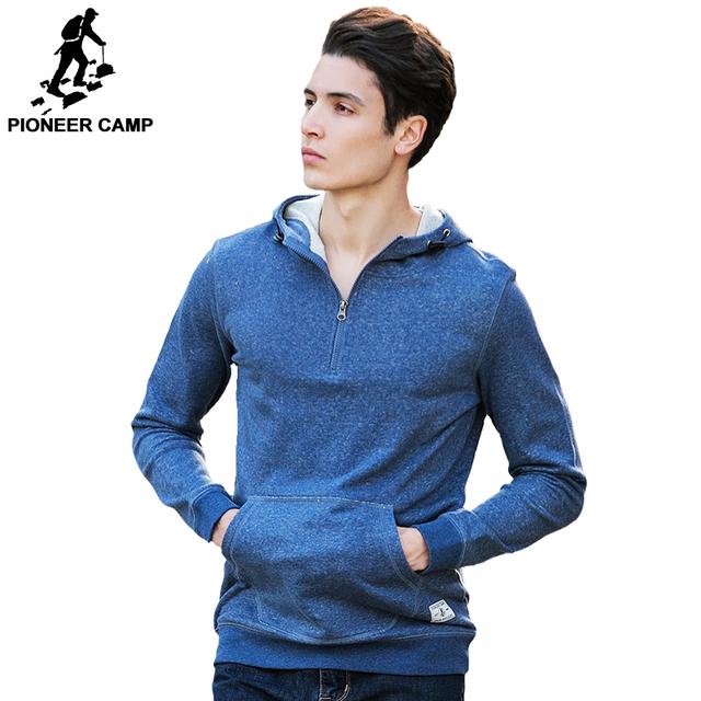 Pioneer camp ropa sudaderas con capucha de los hombres de la marca de moda 100% algodón de alta calidad ocasional masculina cremallera sudadera con capucha de manga larga sudadera 622031