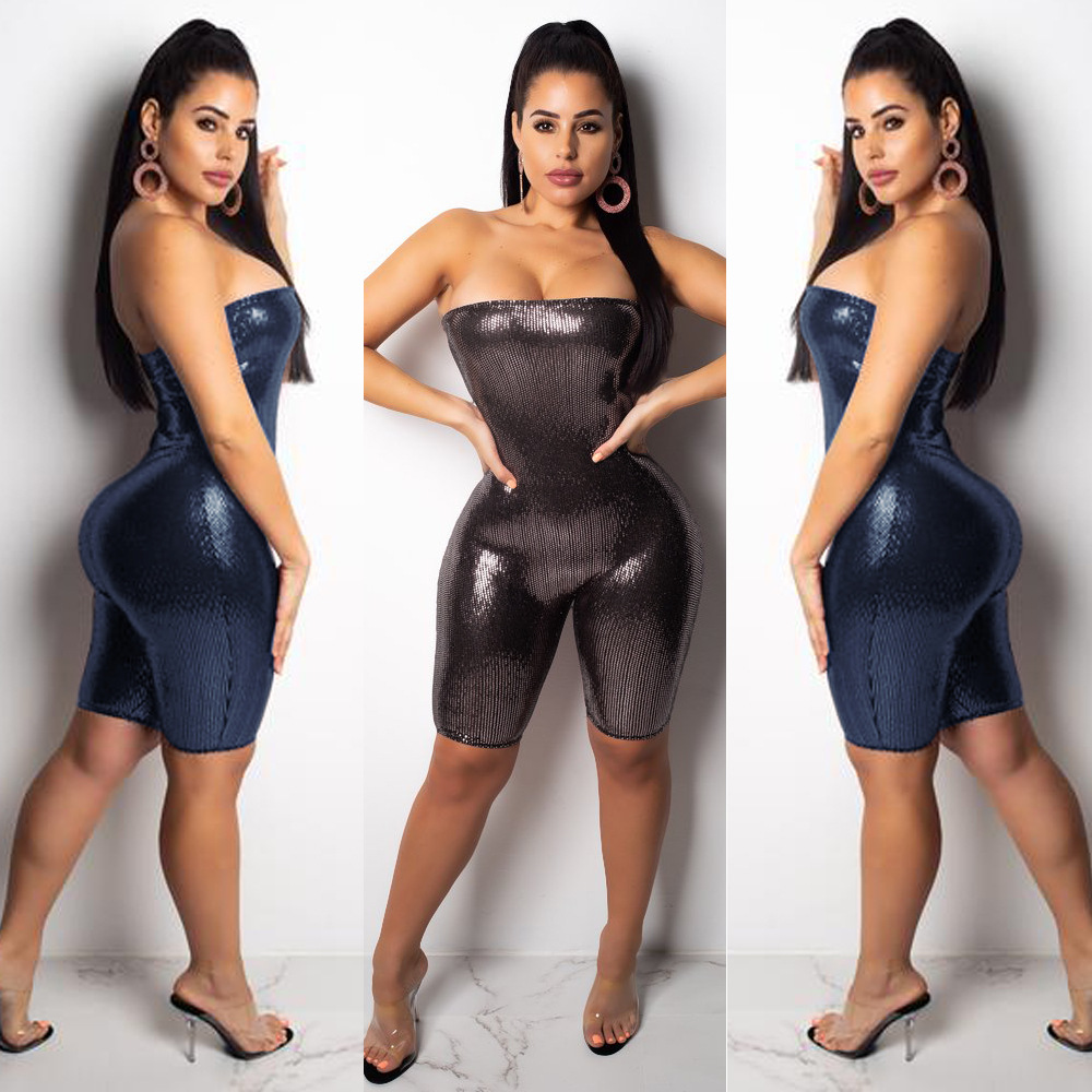 Sparkle Sequined Romper Bodysuit Women Birthday Party Outfits For Women Sexy Jumpsuit Clubwear Glitter Strapless Party playsuit