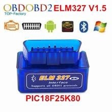 ELM327 Авто Сканер ELM 327 Bluetooth OBD2 Для Android Torque V1.5 OBDII Автомобилей Автомобиля С PIC18F25K80 Чип Сканирования Диагностический Инструмент